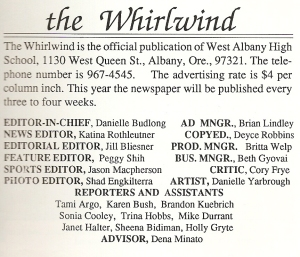 Whirlwind staff box, 1989-90.
